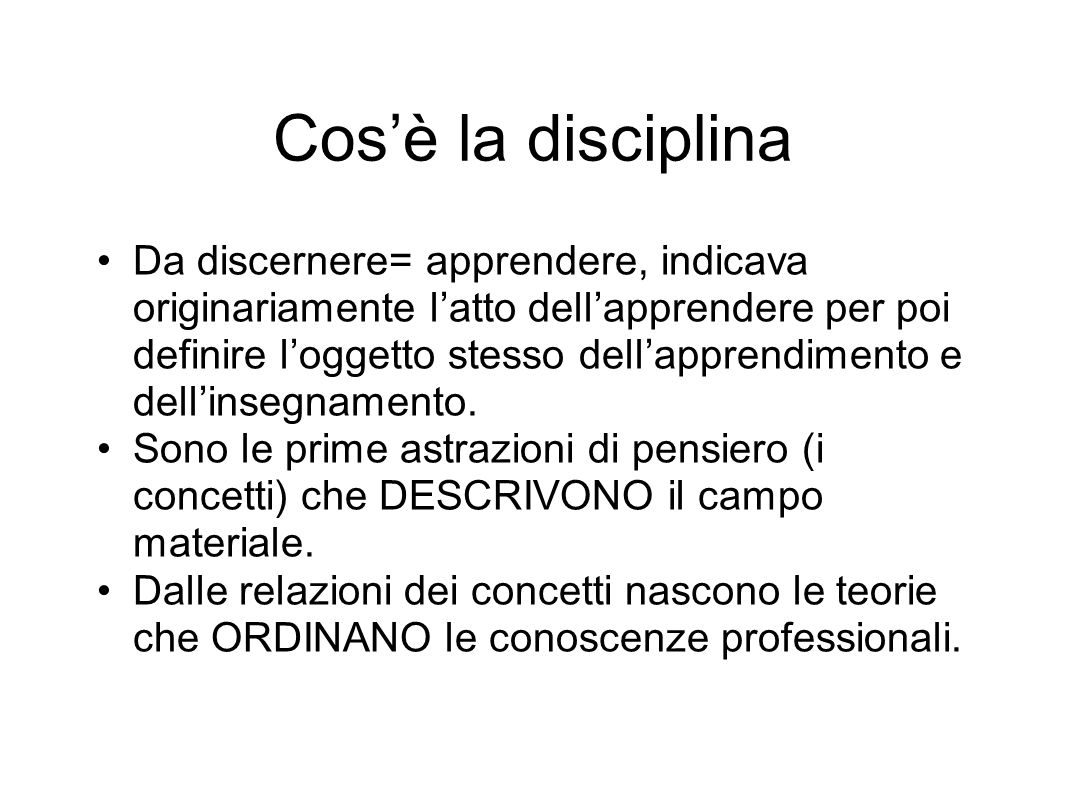 Cos'è la disciplina