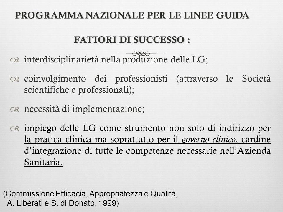 PROGRAMMA NAZIONALE PER LE LINEE GUIDA FATTORI DI SUCCESSO :