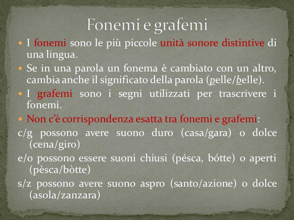 Fonemi e grafemi I fonemi sono le più piccole unità sonore distintive di una lingua.