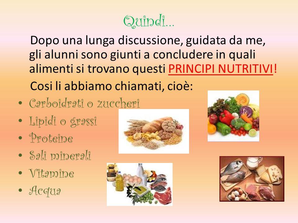 Quindi… Dopo una lunga discussione, guidata da me, gli alunni sono giunti a concludere in quali alimenti si trovano questi PRINCIPI NUTRITIVI!
