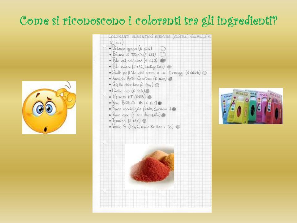 Come si riconoscono i coloranti tra gli ingredienti