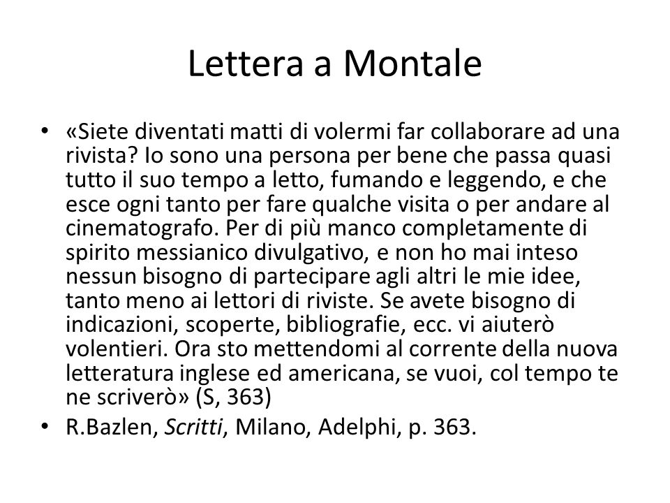 Lettera a Montale