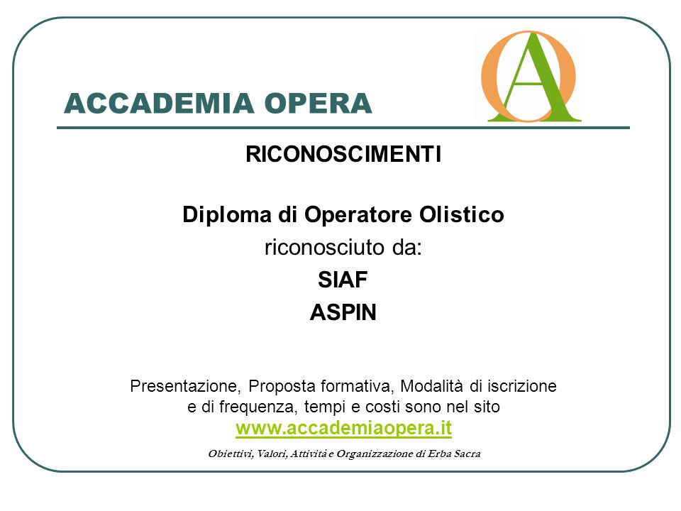 Diploma di Operatore Olistico