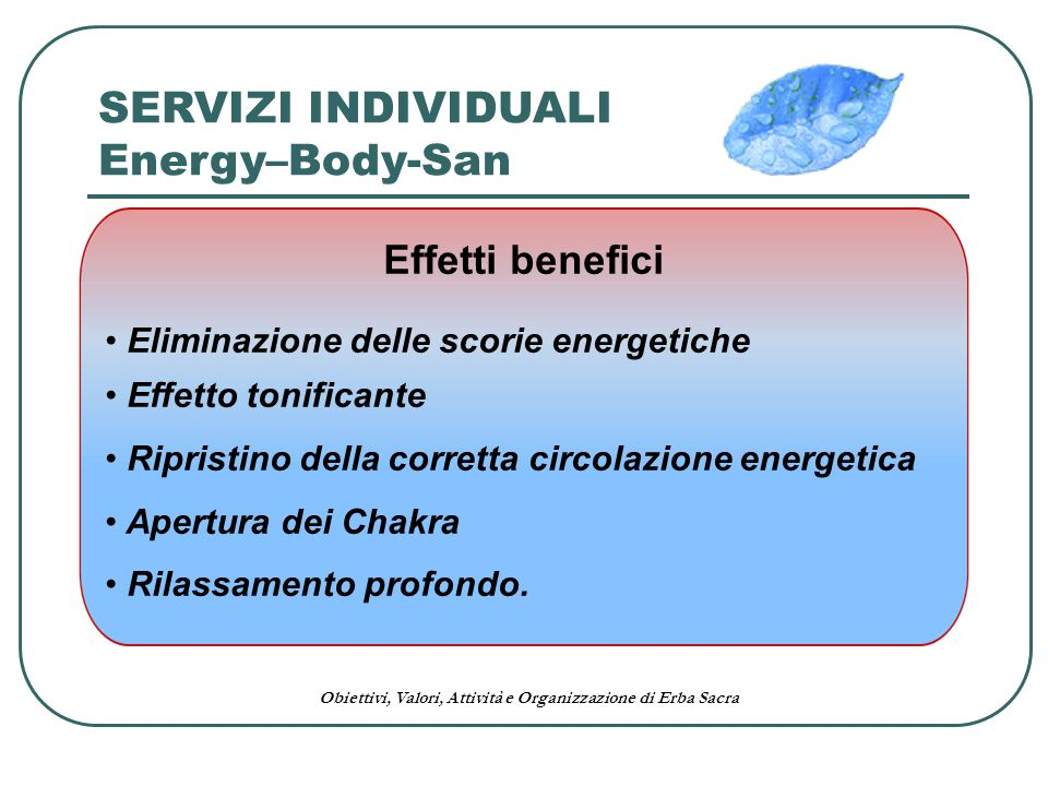 SERVIZI INDIVIDUALI Energy–Body-San