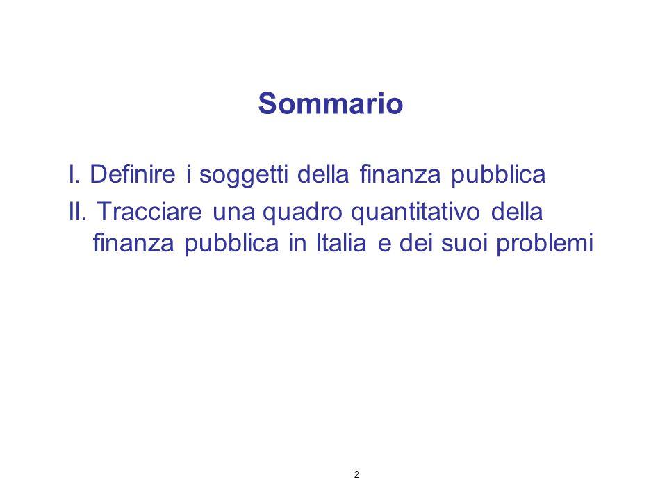 Sommario I. Definire i soggetti della finanza pubblica
