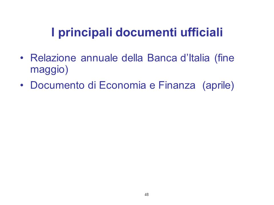 I principali documenti ufficiali