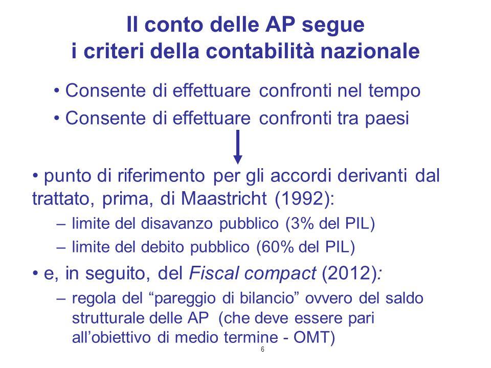 Il conto delle AP segue i criteri della contabilità nazionale