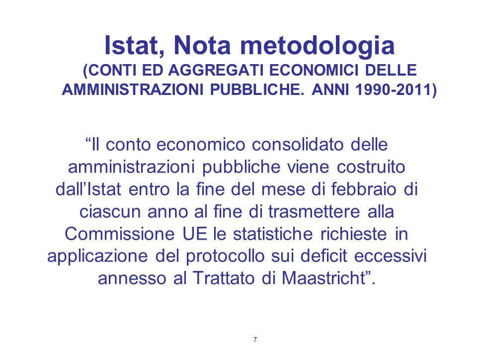 Istat, Nota metodologia (CONTI ED AGGREGATI ECONOMICI DELLE AMMINISTRAZIONI PUBBLICHE. ANNI 1990-2011)