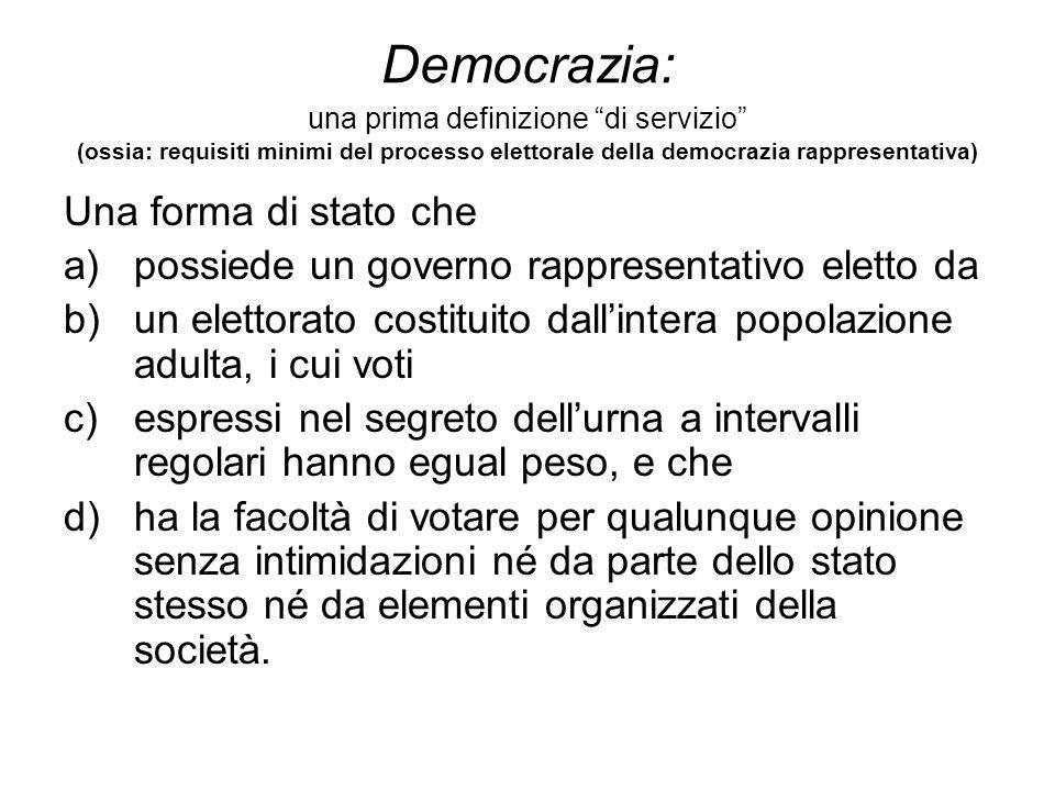 Democrazia: una prima definizione di servizio (ossia: requisiti minimi del processo elettorale della democrazia rappresentativa)