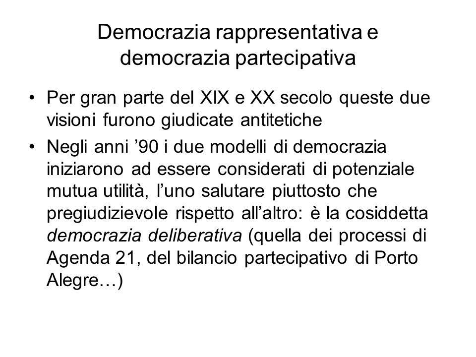 Democrazia rappresentativa e democrazia partecipativa