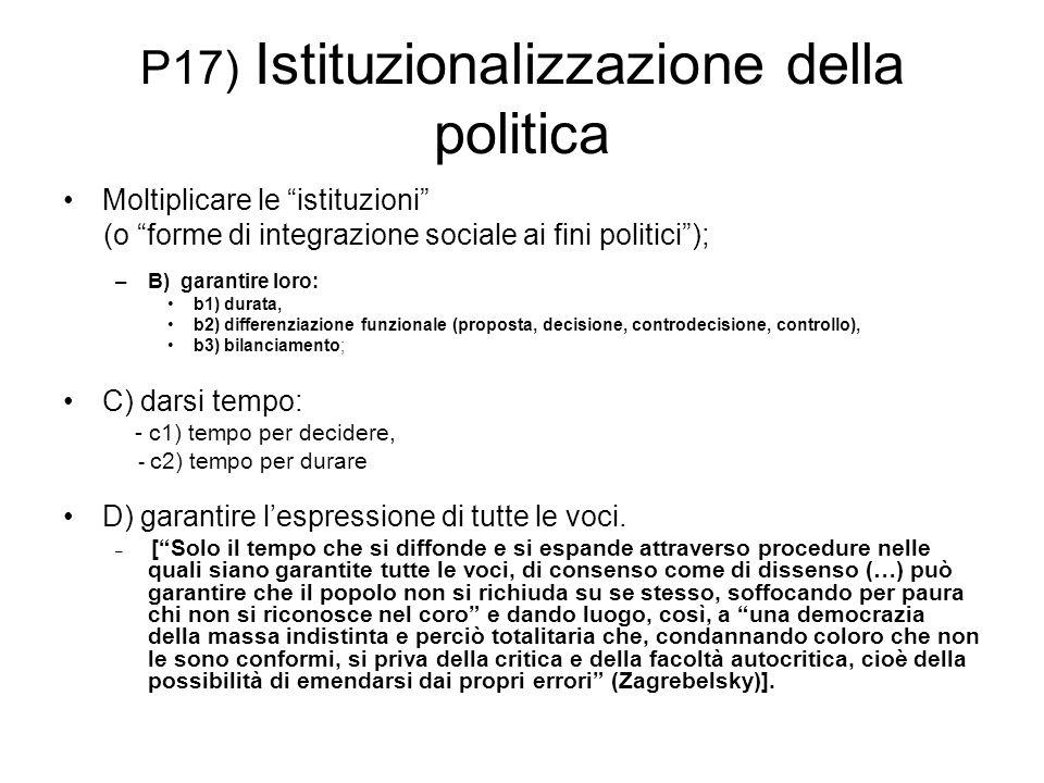 P17) Istituzionalizzazione della politica