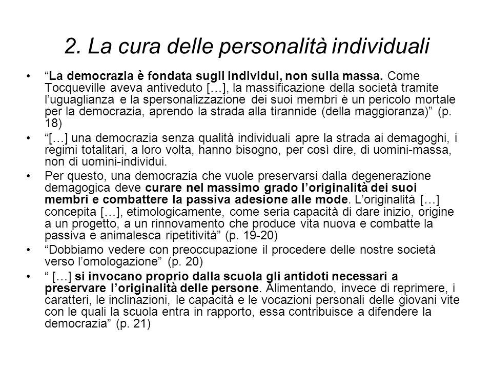 2. La cura delle personalità individuali