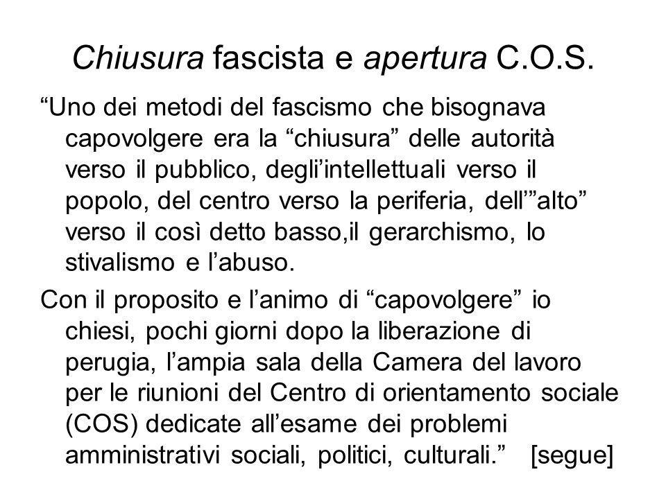 Chiusura fascista e apertura C.O.S.