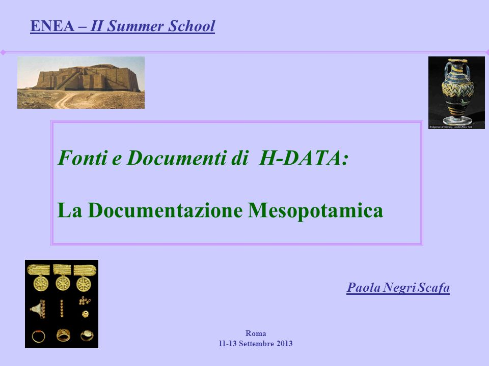 Fonti e Documenti di H-DATA: La Documentazione Mesopotamica