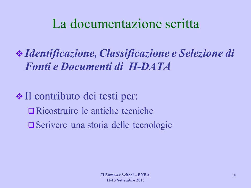 La documentazione scritta