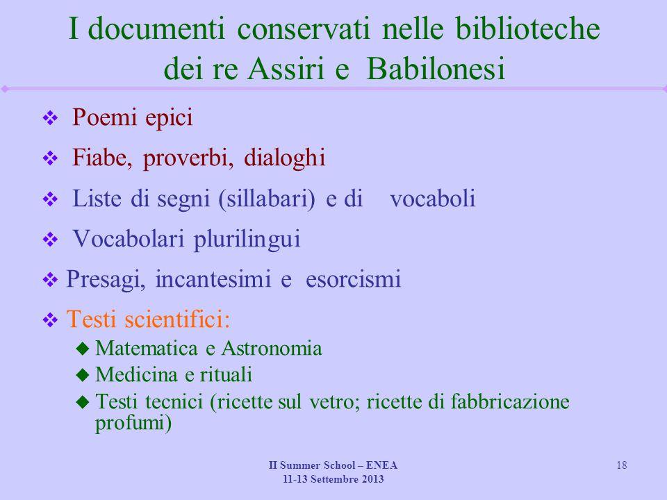 I documenti conservati nelle biblioteche dei re Assiri e Babilonesi