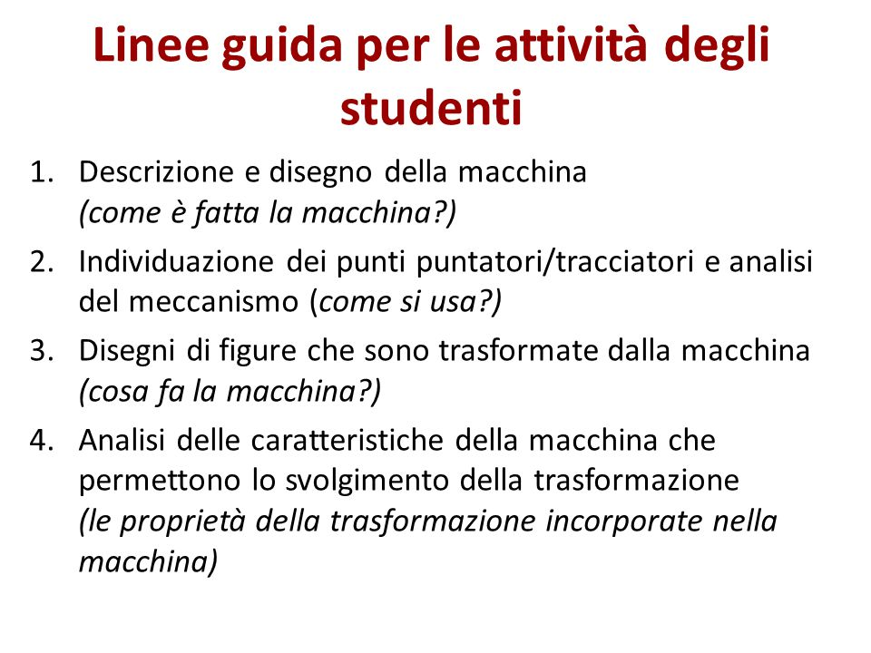 Linee guida per le attività degli studenti