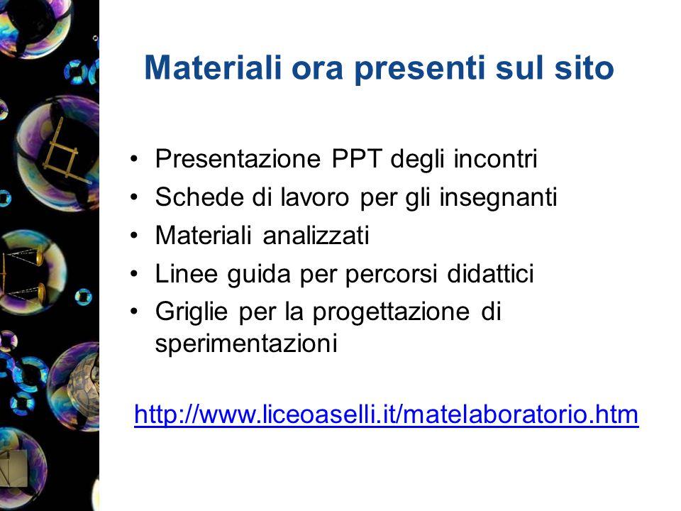 Materiali ora presenti sul sito