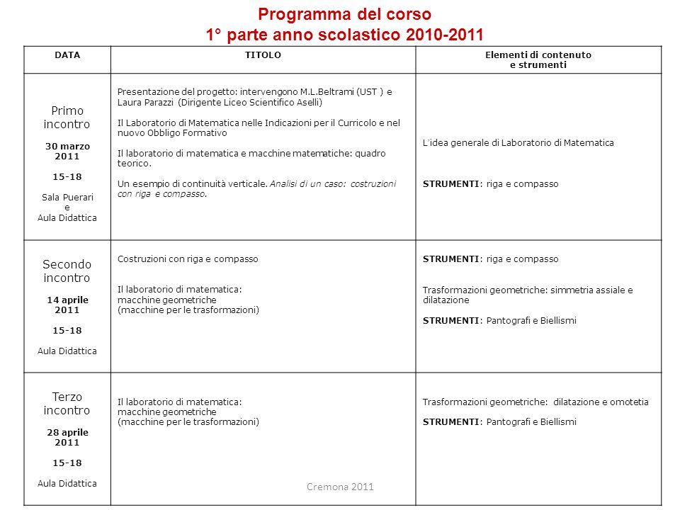 1° parte anno scolastico 2010-2011