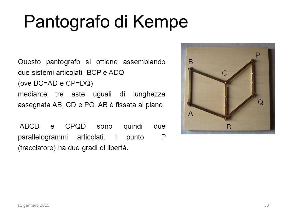 Pantografo di Kempe P. Questo pantografo si ottiene assemblando due sistemi articolati BCP e ADQ.
