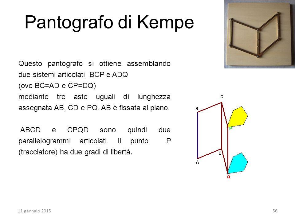 Pantografo di Kempe Questo pantografo si ottiene assemblando due sistemi articolati BCP e ADQ. (ove BC=AD e CP=DQ)