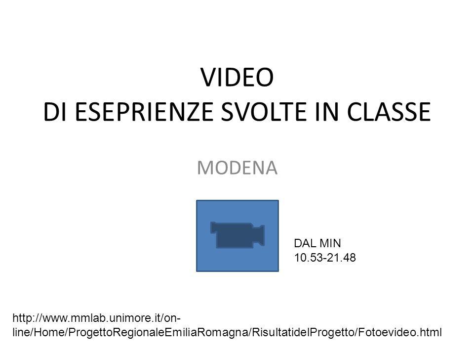VIDEO DI ESEPRIENZE SVOLTE IN CLASSE