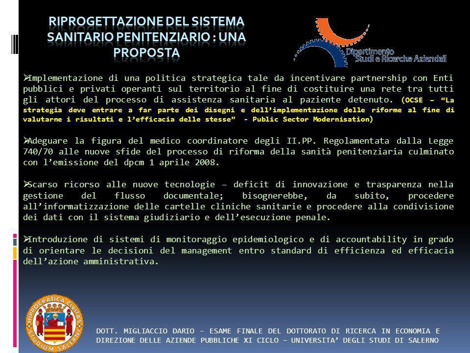 Riprogettazione del sistema sanitario penitenziario : una proposta