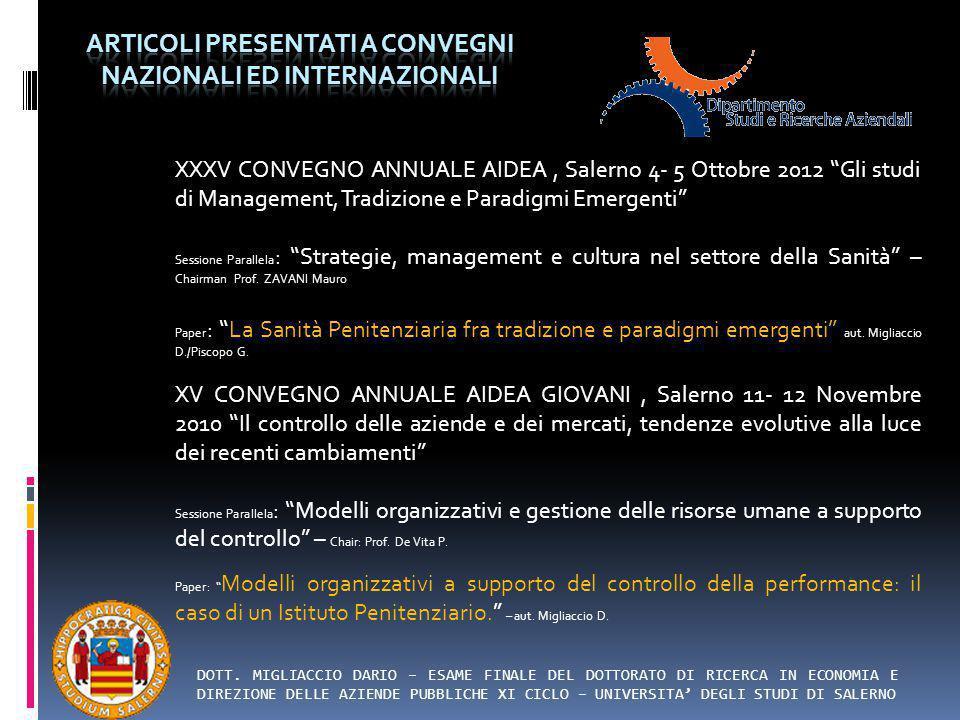 Articoli presentati a convegni nazionali ed internazionali