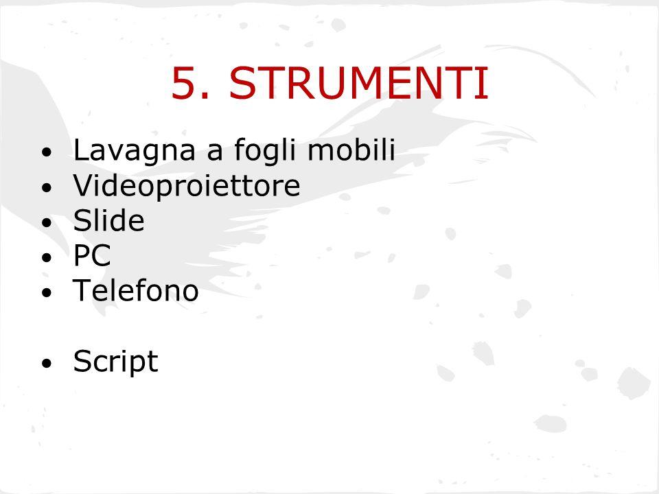 5. STRUMENTI Lavagna a fogli mobili Videoproiettore Slide PC Telefono