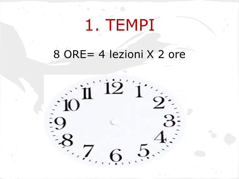 1. TEMPI 8 ORE= 4 lezioni X 2 ore