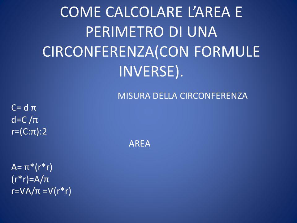 COME CALCOLARE L'AREA E PERIMETRO DI UNA CIRCONFERENZA(CON FORMULE INVERSE).