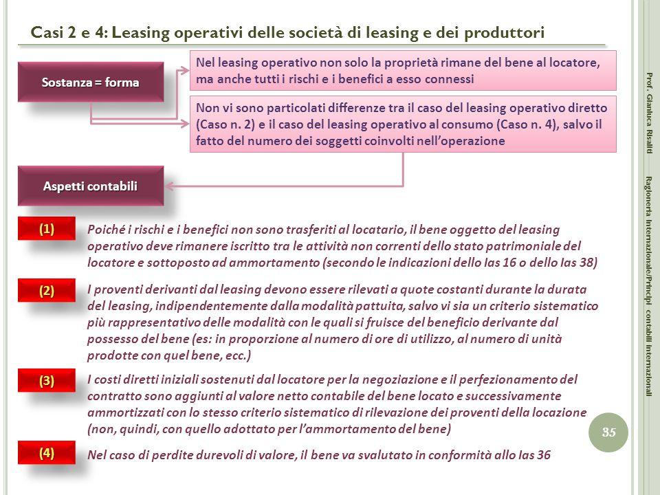 Casi 2 e 4: Leasing operativi delle società di leasing e dei produttori