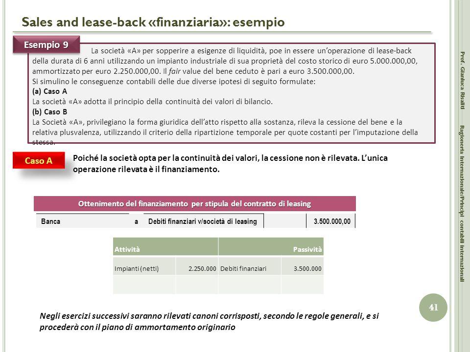 Sales and lease-back «finanziaria»: esempio
