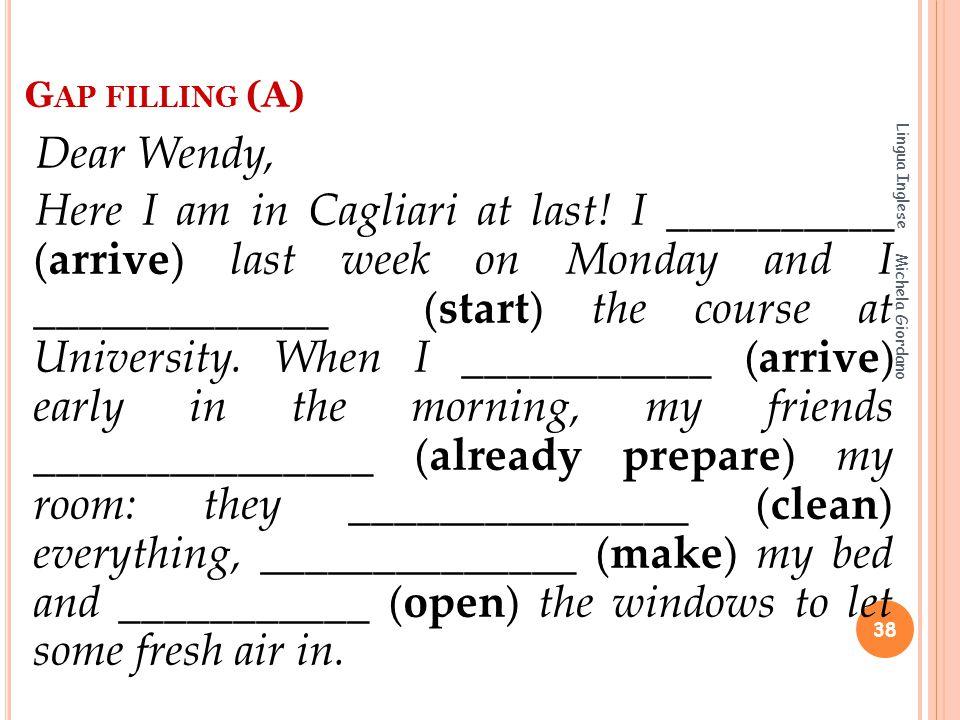 Gap filling (A) Lingua Inglese.