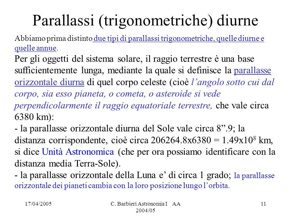 Parallassi (trigonometriche) diurne