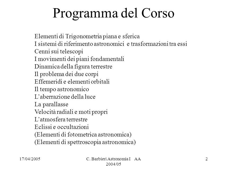 C. Barbieri Astronomia I AA 2004/05