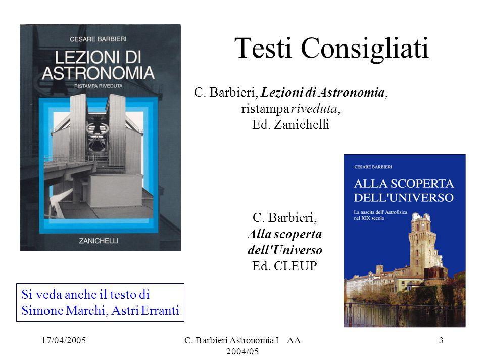 Testi Consigliati C. Barbieri, Lezioni di Astronomia, ristampa riveduta, Ed. Zanichelli. C. Barbieri, Alla scoperta dell Universo.