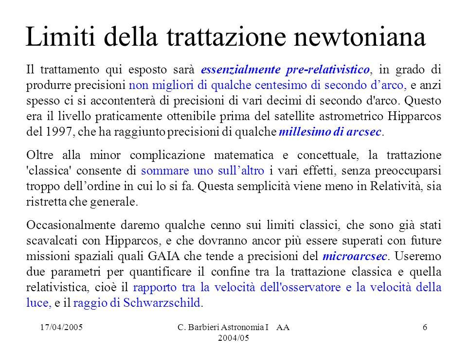 Limiti della trattazione newtoniana