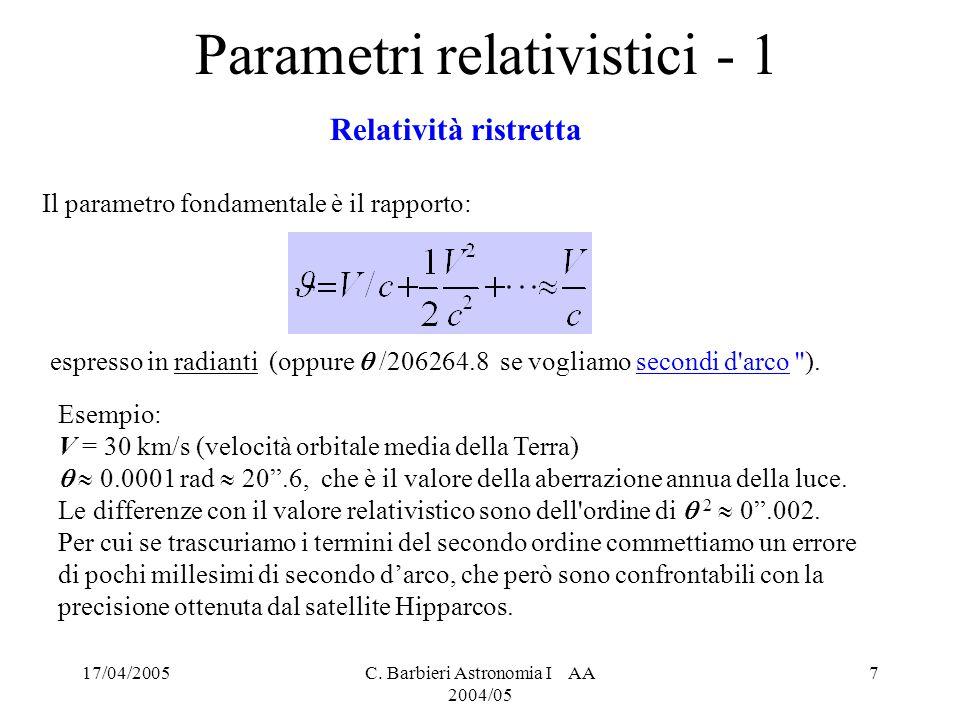 Parametri relativistici - 1