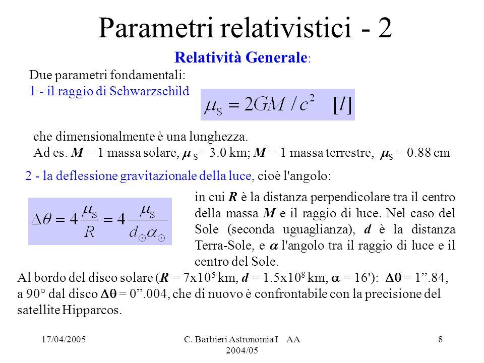 Parametri relativistici - 2