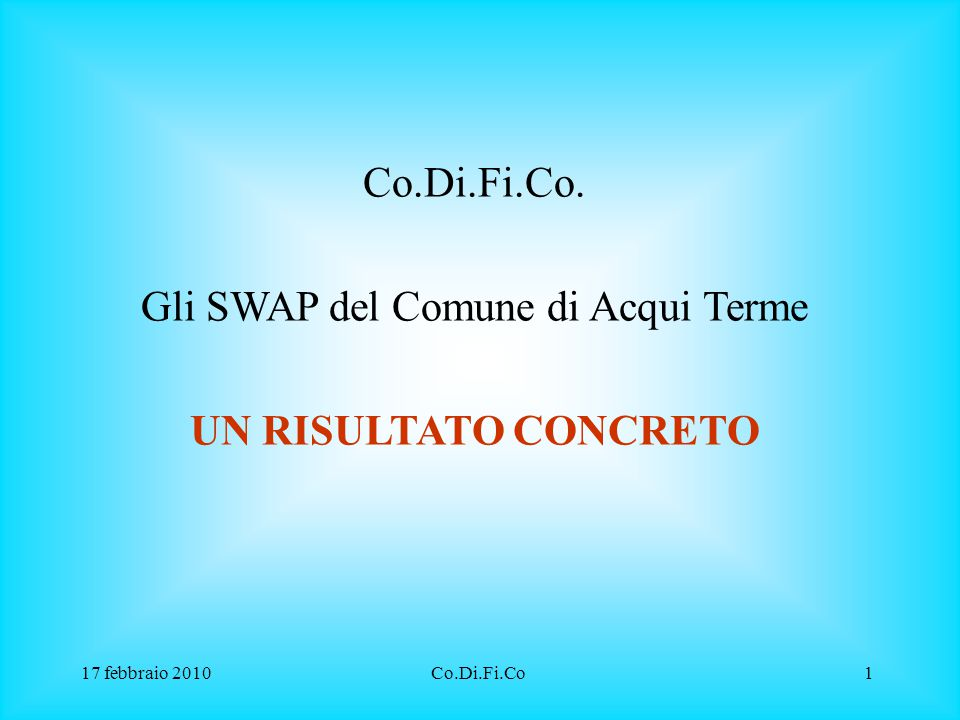 Gli SWAP del Comune di Acqui Terme