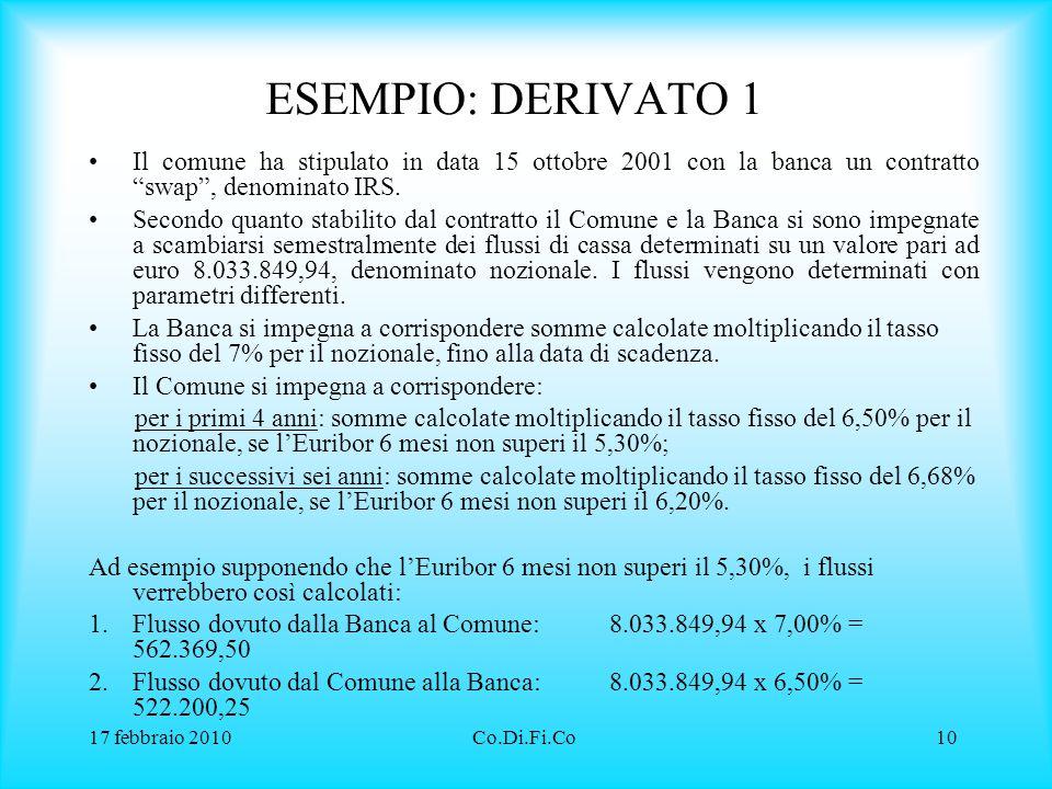ESEMPIO: DERIVATO 1 Il comune ha stipulato in data 15 ottobre 2001 con la banca un contratto swap , denominato IRS.