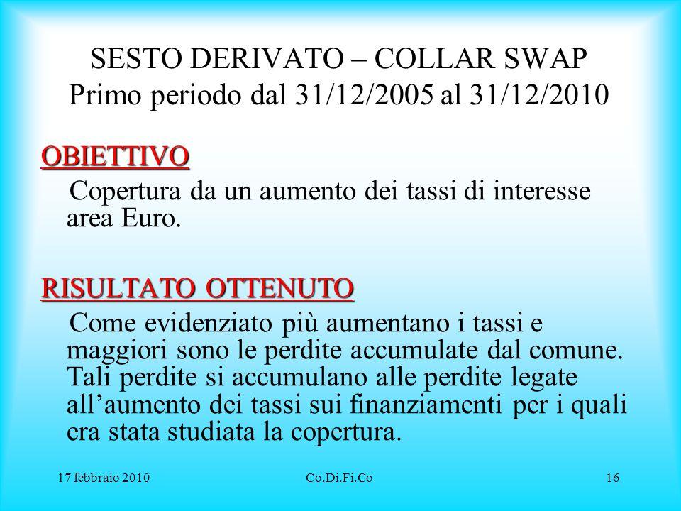 SESTO DERIVATO – COLLAR SWAP Primo periodo dal 31/12/2005 al 31/12/2010
