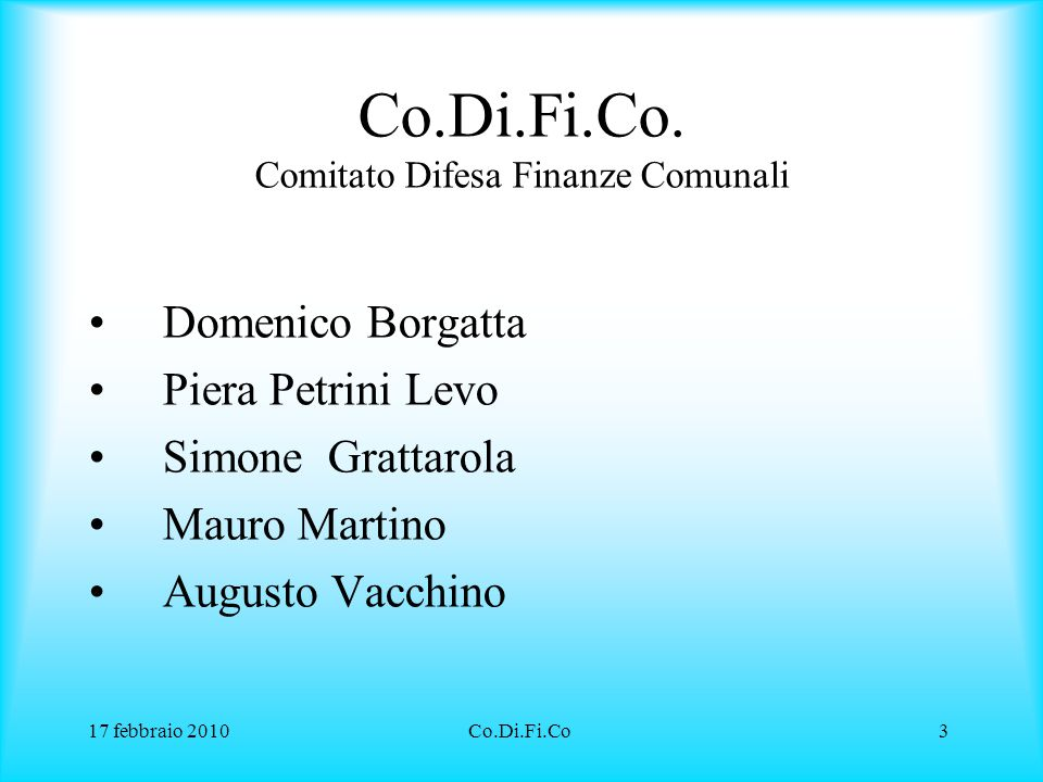 Co.Di.Fi.Co. Comitato Difesa Finanze Comunali