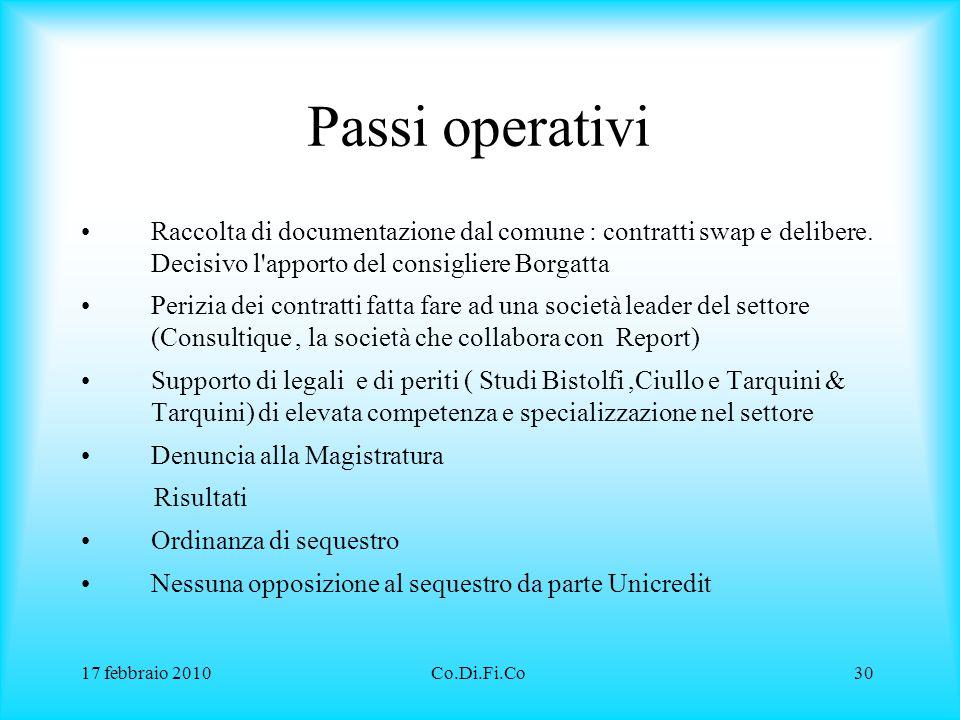 Passi operativi Raccolta di documentazione dal comune : contratti swap e delibere. Decisivo l apporto del consigliere Borgatta.