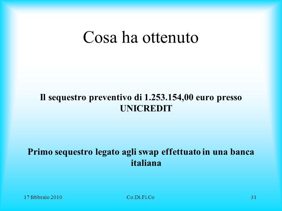 Cosa ha ottenuto Il sequestro preventivo di 1.253.154,00 euro presso UNICREDIT. Primo sequestro legato agli swap effettuato in una banca italiana.