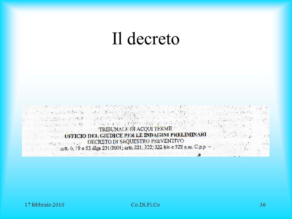 Il decreto 17 febbraio 2010 Co.Di.Fi.Co
