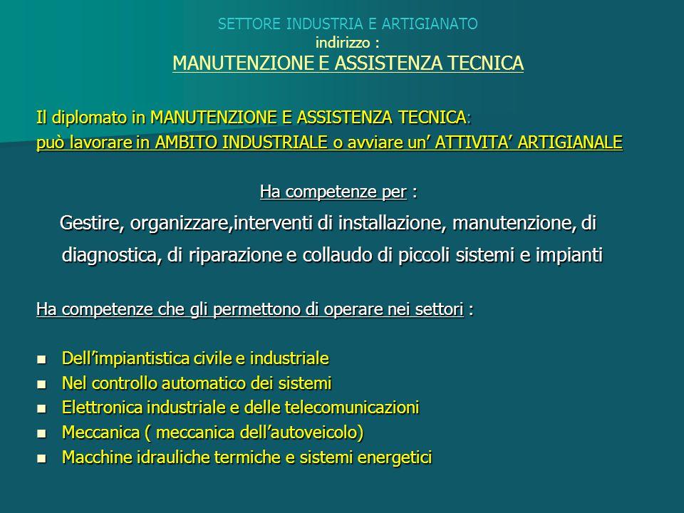 SETTORE INDUSTRIA E ARTIGIANATO indirizzo : MANUTENZIONE E ASSISTENZA TECNICA