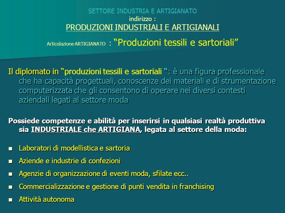 Articolazione ARTIGIANATO : Produzioni tessili e sartoriali