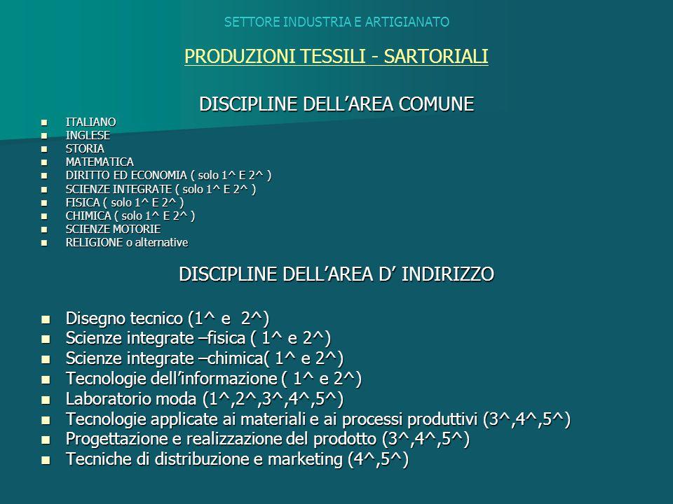 SETTORE INDUSTRIA E ARTIGIANATO PRODUZIONI TESSILI - SARTORIALI